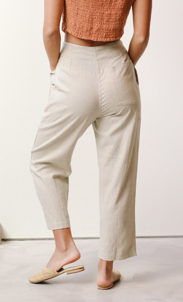 at Dawn. Two Button Trousers - Natural