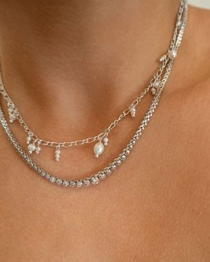 Ballier Bezel Tennis Necklace - Silver