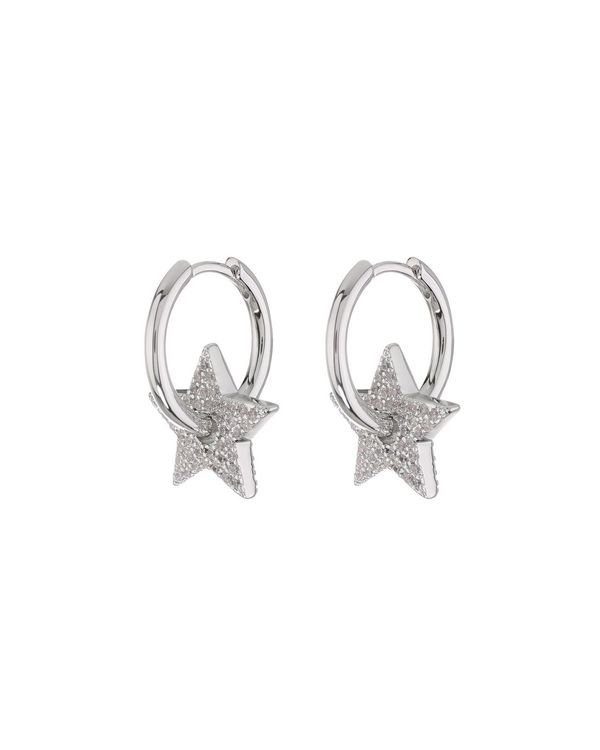Pave Star Charm Hoops - Silver