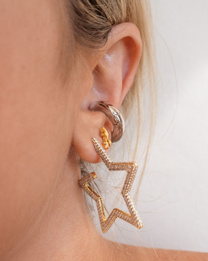Pave Star Hoops - Gold