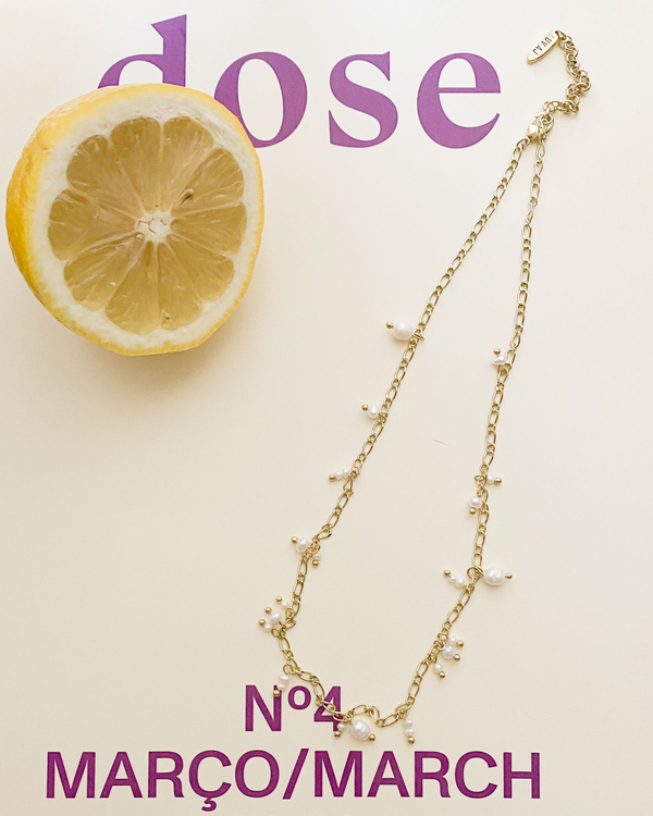 Pearl Drop Charm Necklace - Gold