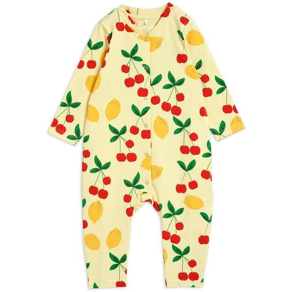 kids mini rodini cherry lemonade allover jumpsuit - yellow