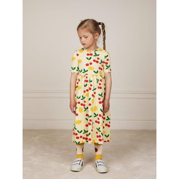 Kids mini rodini cherry lemonade allover short sleeve long dress - yellow