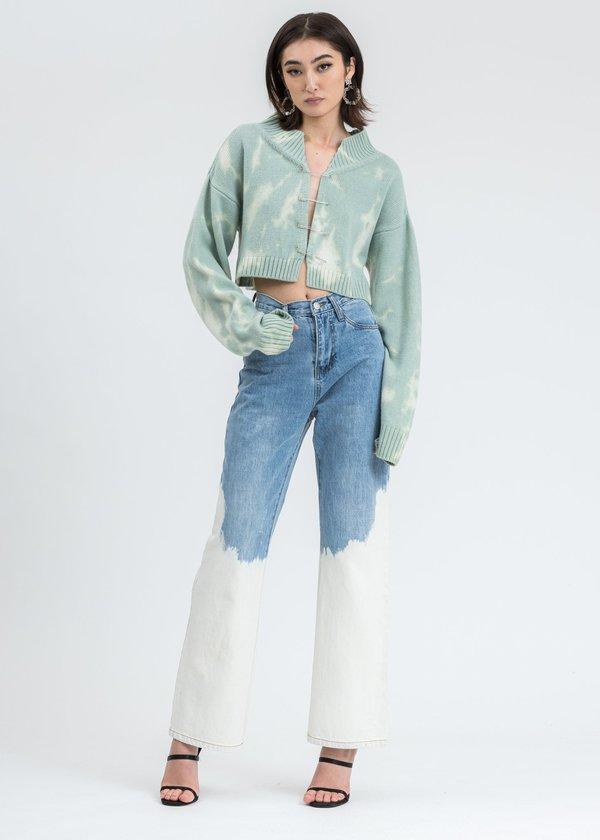 Danielle Guizio Tie Dye Knit Safety Pin Sweater - Mint