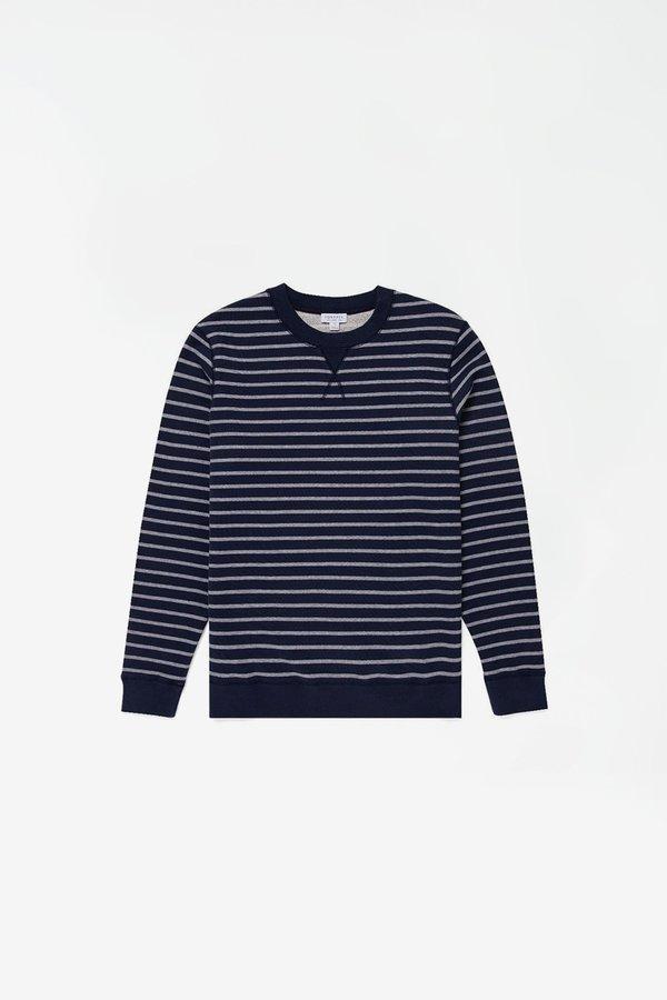 Sunspel Loopback Sweatshirt - Melange Stripe Navy/Grey