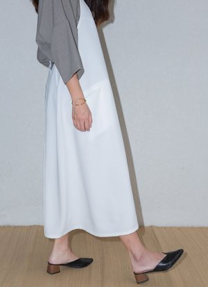 Weed Halter Pocket Dress w/ Removable Straps - White