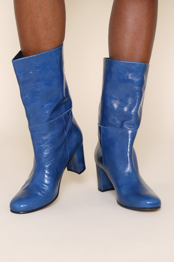 """""""INTENTIONALLY __________.""""Pammy Mid-Height Boot - Periwinkle"""