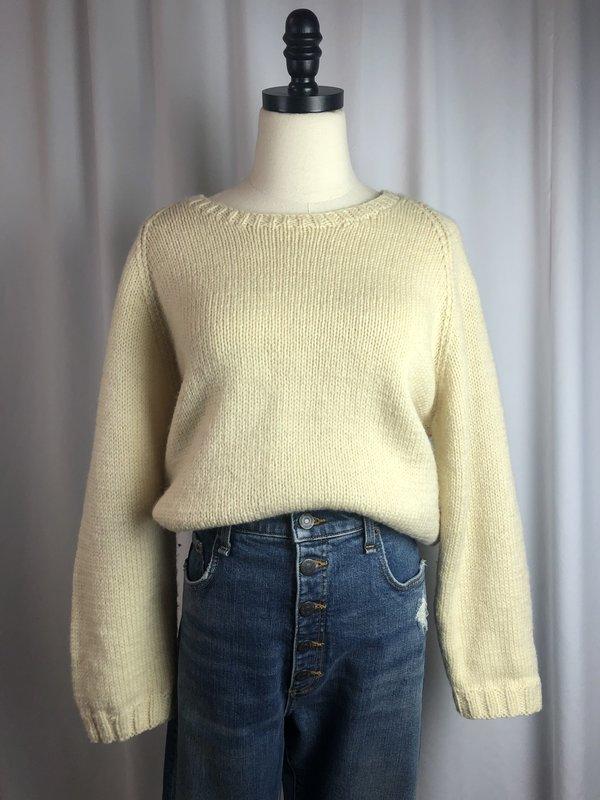 Vintage Wool Crew Neck Sweater - Cream
