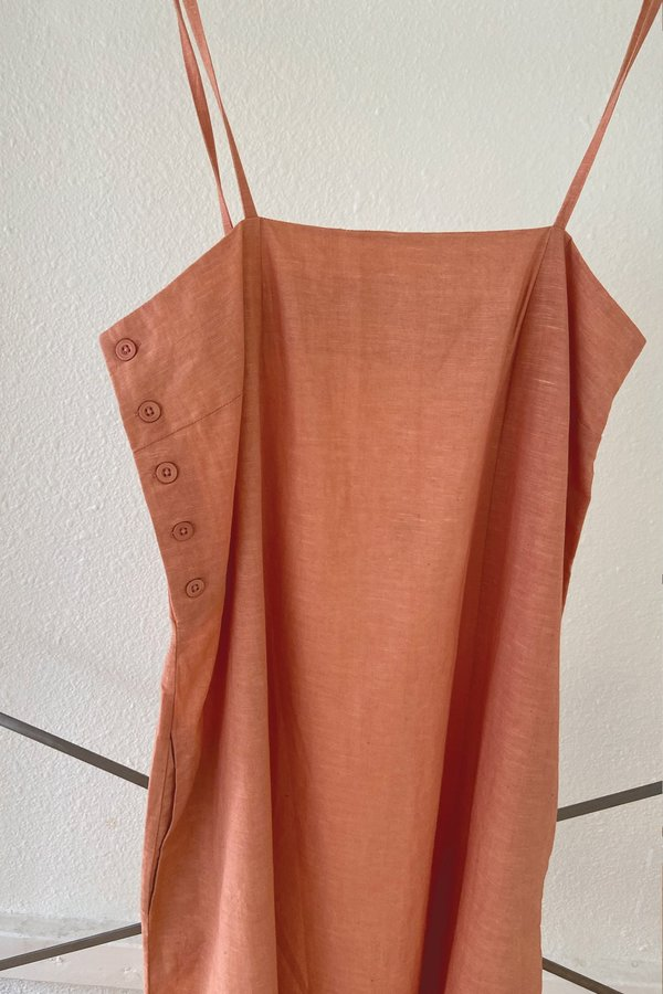 Melon Straight Pleated Dress