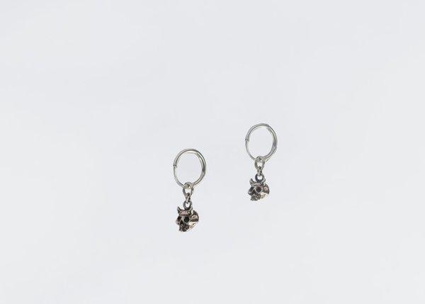 UNISEX Black Daisies Tiny Gashadokuro Hoops - Sterling Silver
