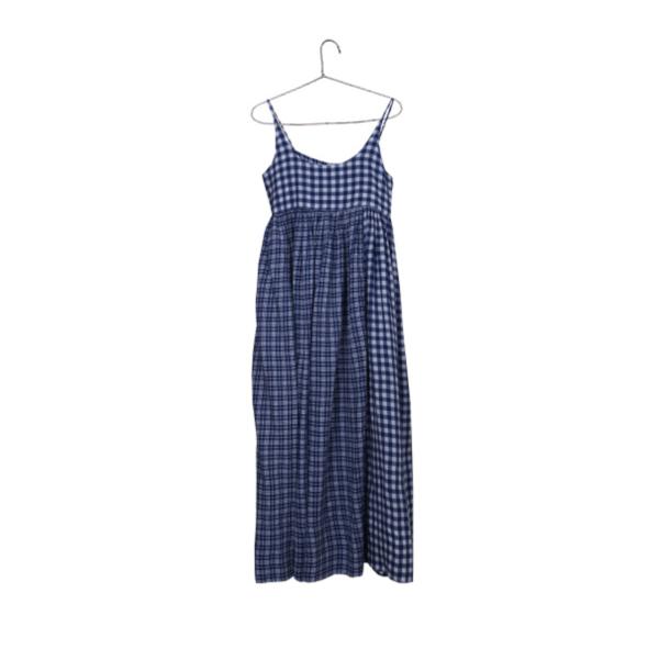Injiri Checked Maxi Slip Dress - Blue