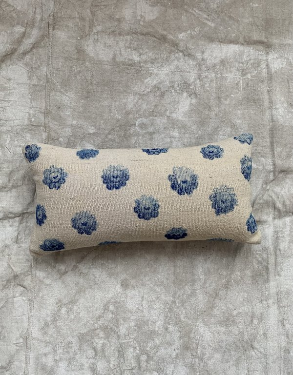 Cuttalossa & Co. Hand Painted Flower Lumbar Pillow - blue/cream