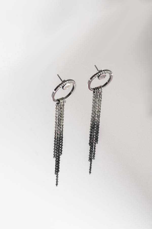 Black Daisies Cleopatra's Girlfriend Stud Loop Earrings - sterling silver