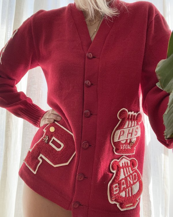 VINTAGE 1960s Wool Band College Cardigan - Red