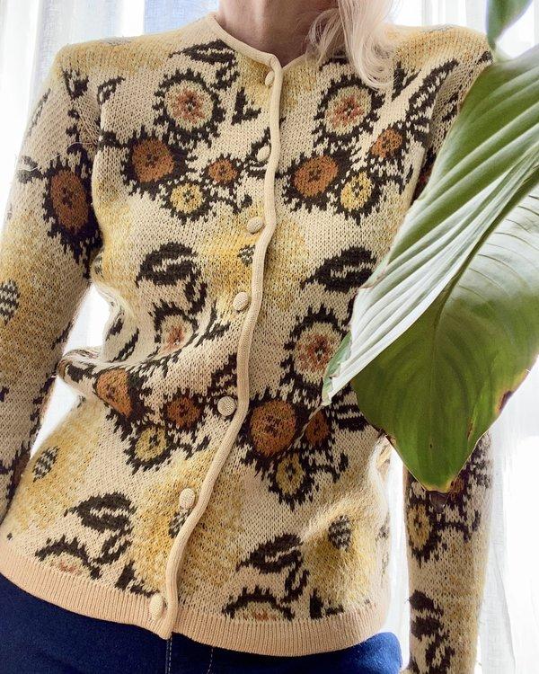 VINTAGE Jacquard Floral Cardigan