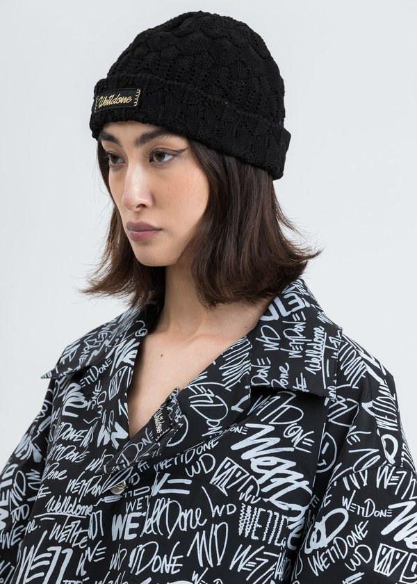 we11done Lace Knit Beanie - black