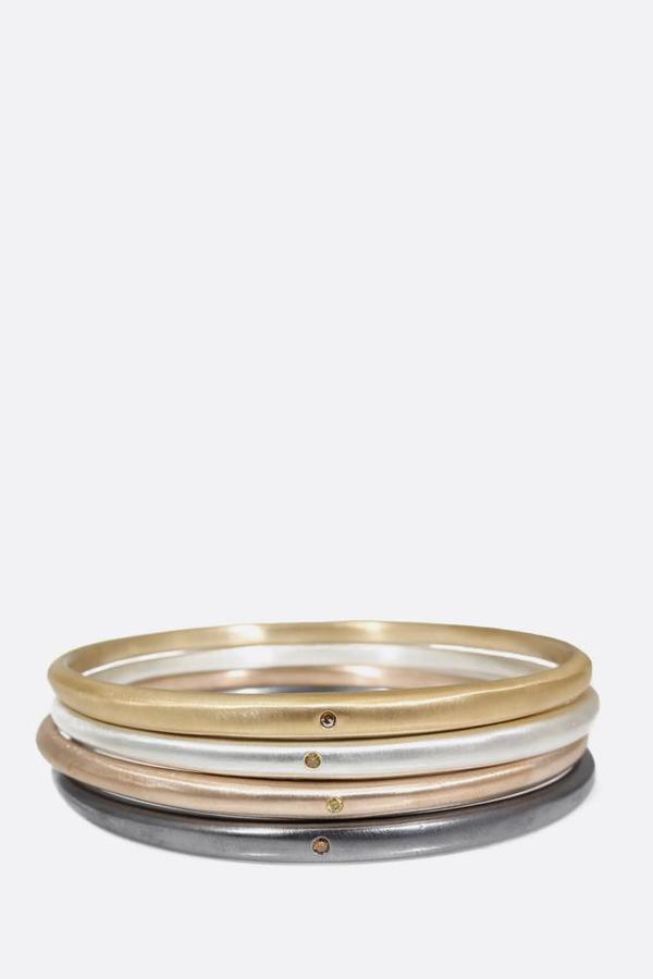 April Higashi Tapered Bangle with Autumn Diamond - Bronze