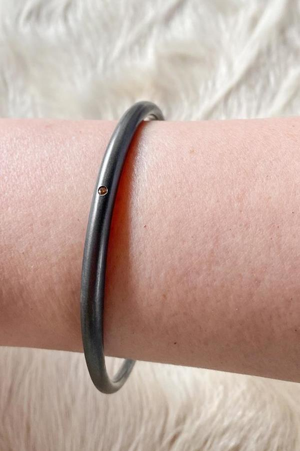 Oxidized Silver Tapered Bangle with Autumn Diamond