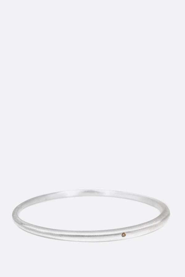 Silver Tapered Bangle with Autumn Diamond