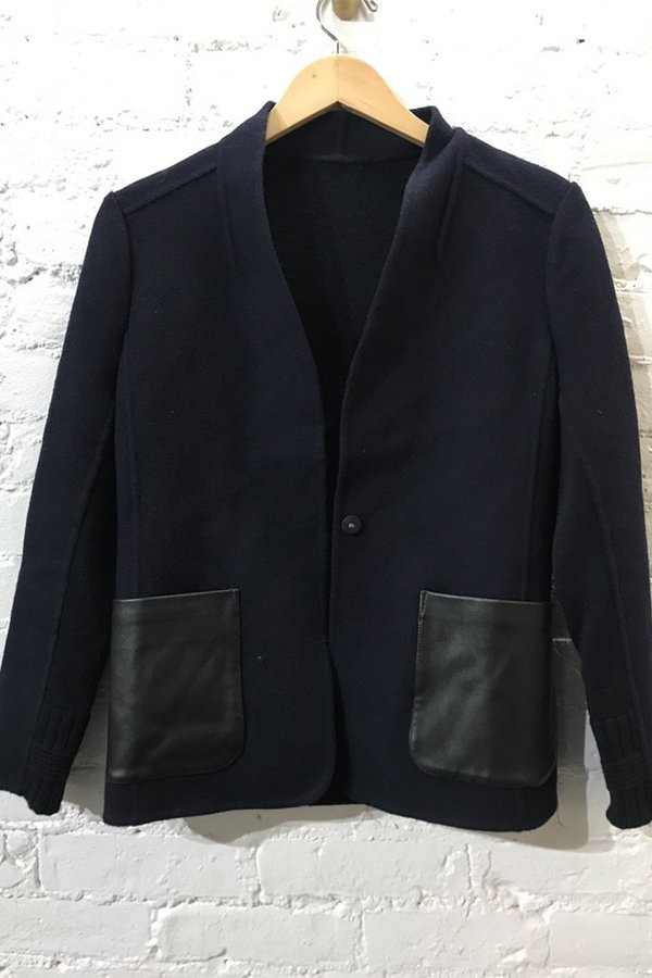 M.PATMOS Double Faced Wool Cashmere Blazer W Leather Detail - Navy