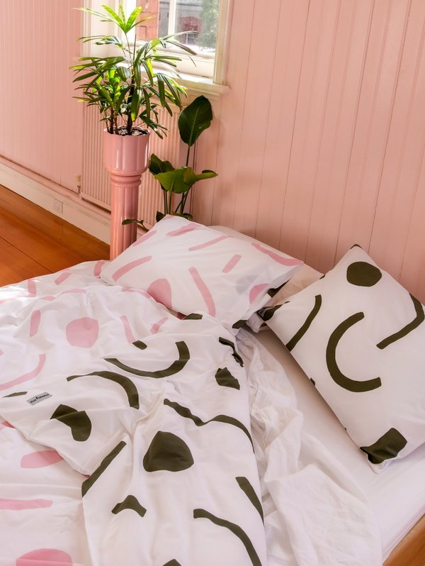 Mosey Me Shapes Quilt Cover Set - Pink/Olive