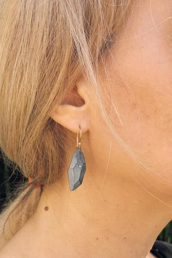 Flat Faceted Oxidized Silver Earrings