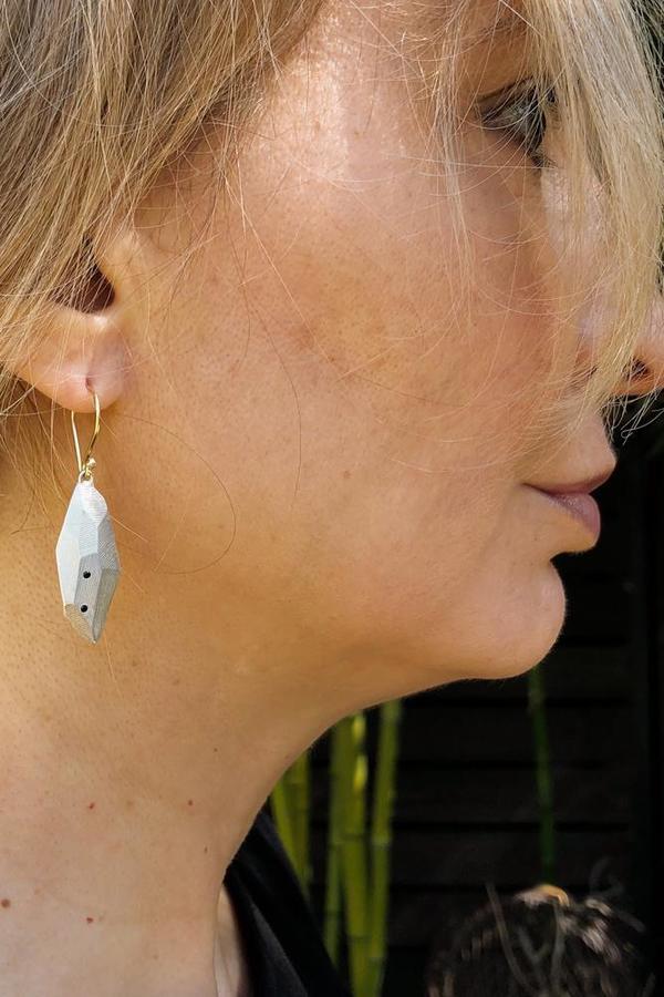 Flat Faceted Silver Earrings