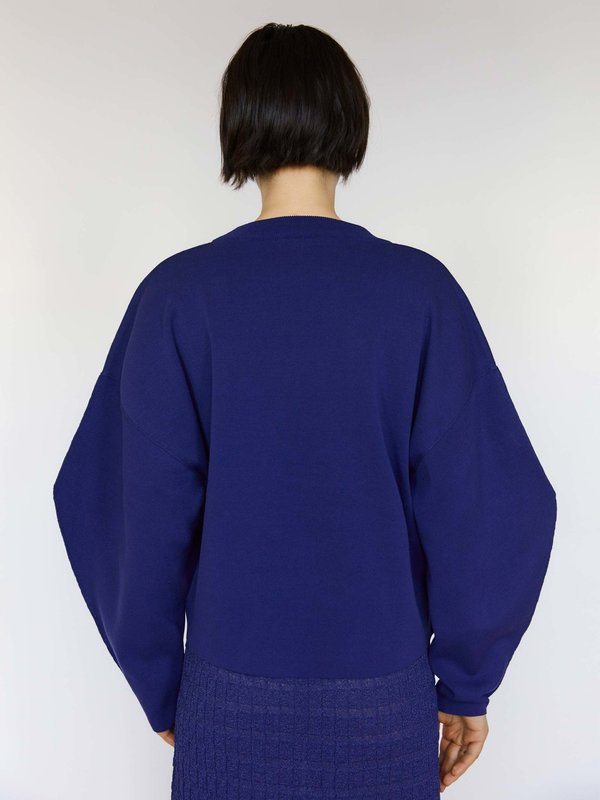 Rus Relaxed compact cotton sweater - Eclipse Indigo