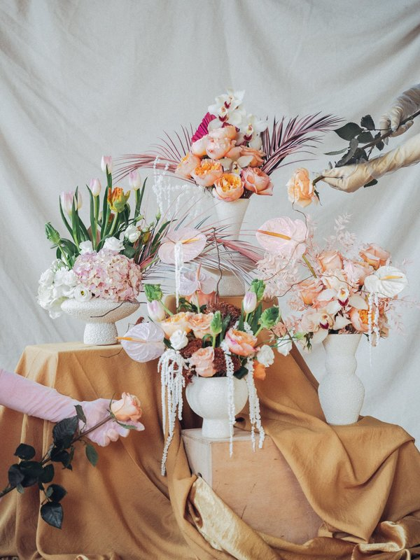 pearl and palm. the lully vessel + little shop of florals arrangement.