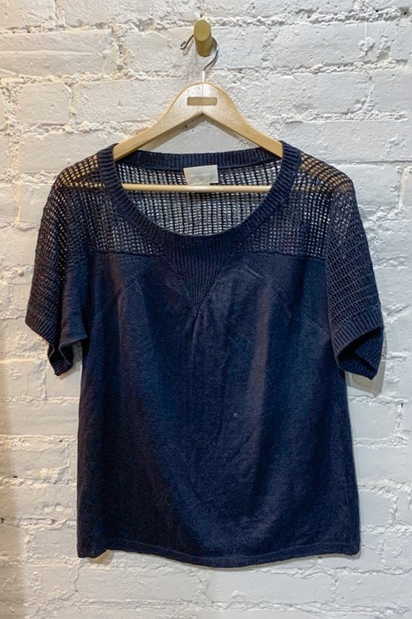 Linen Cotton Top - Navy - Small