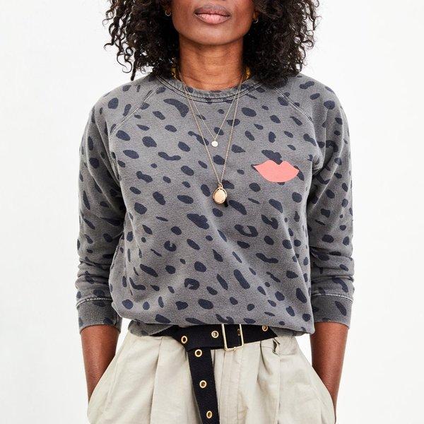 Clare V. Jaguar Print Sweatshirt - FDBLK