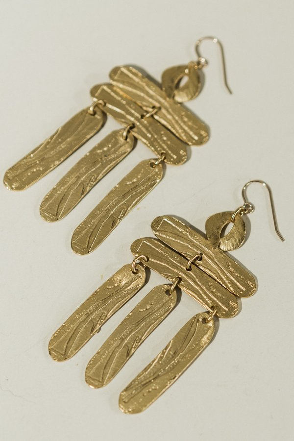 Lingua Nigra Building a Ladder Earrings - Gold