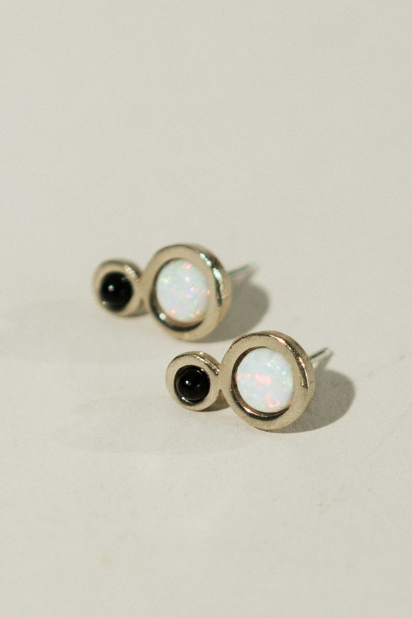 Mini Orbit Earrings with Opal
