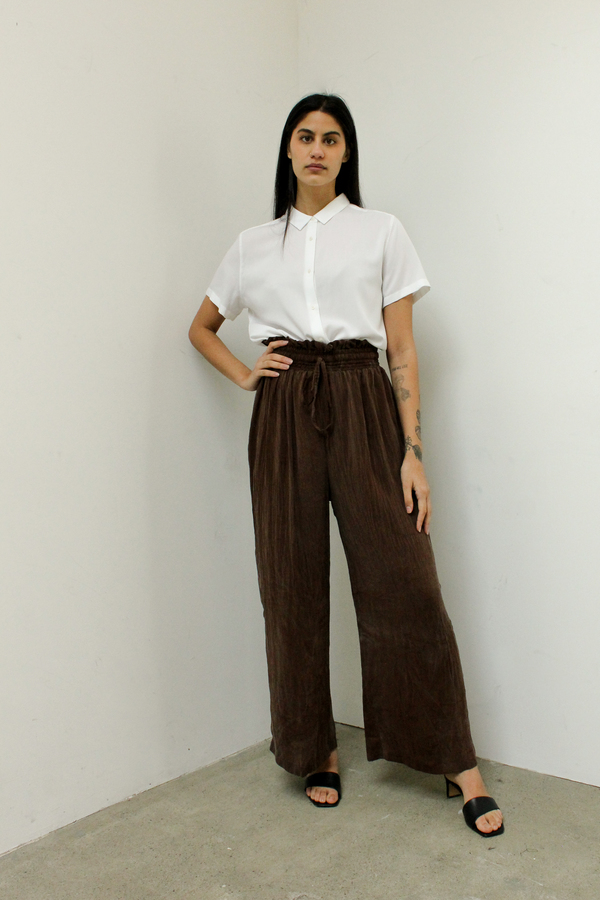 ATHENA NEWTON Cupro silk wide leg pants - chocolate