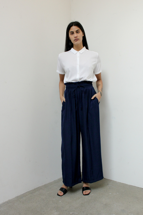 Silky wide leg pants - navy