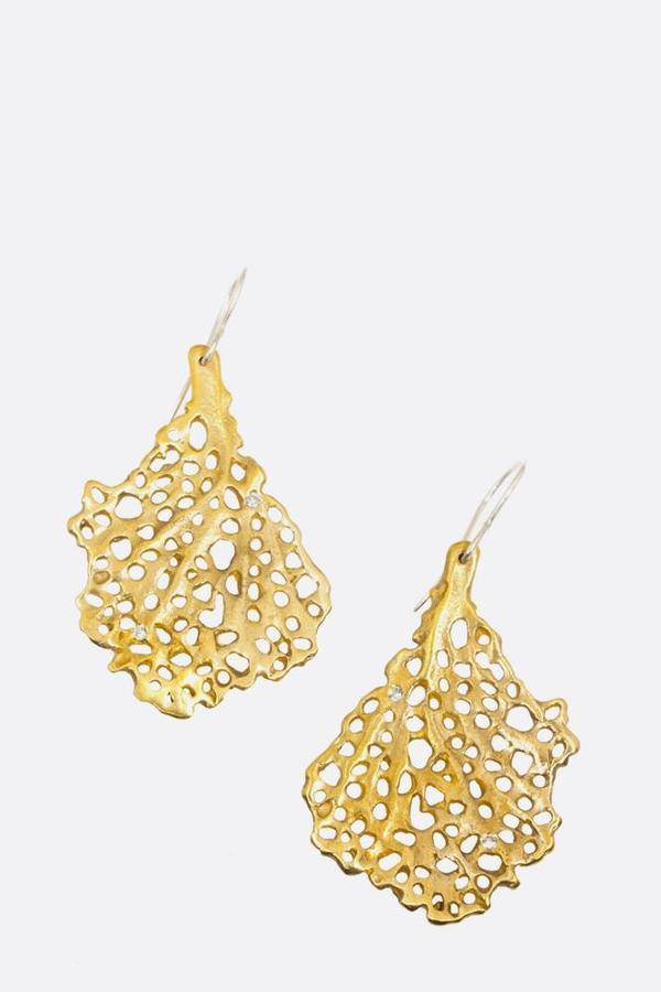 Bronze Coral Koraru Earrings with white sapphires