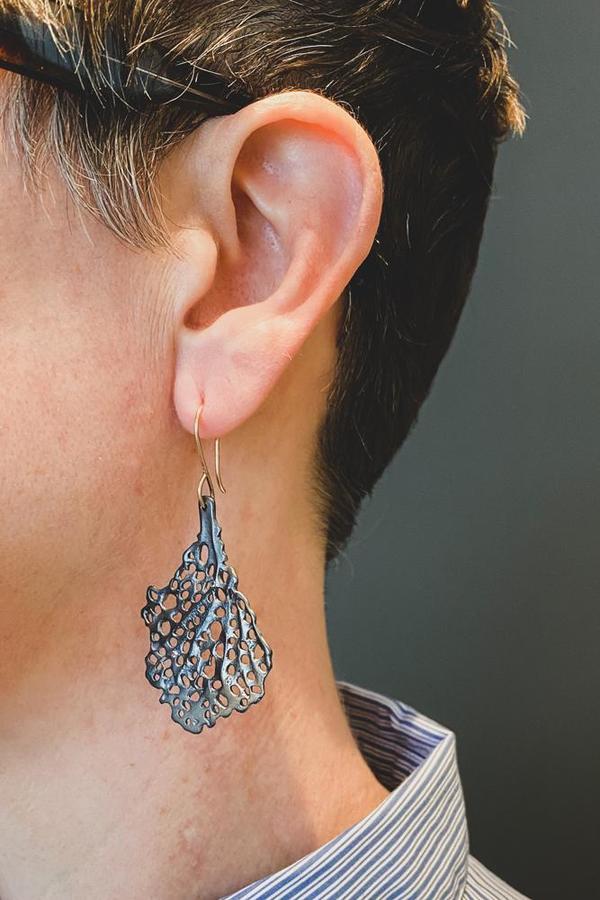Oxidized Silver Coral Koraru Earrings