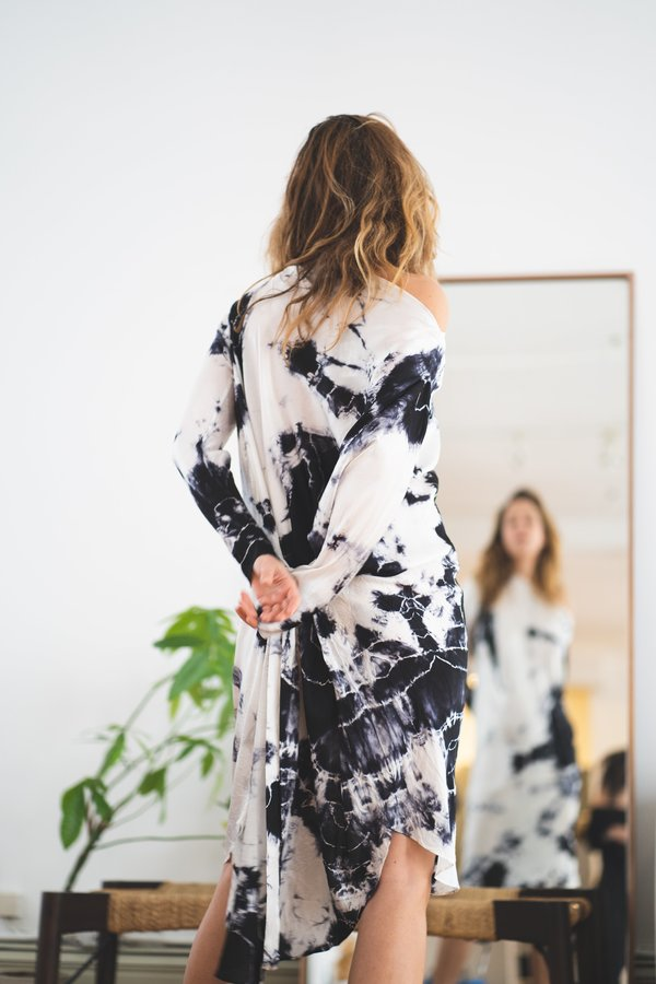KES Repurposed Tie Dye Lia Dress - Black/White