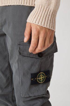 30810 Stretch Gabardine Garment Dyed Cargo Pants - Fumo