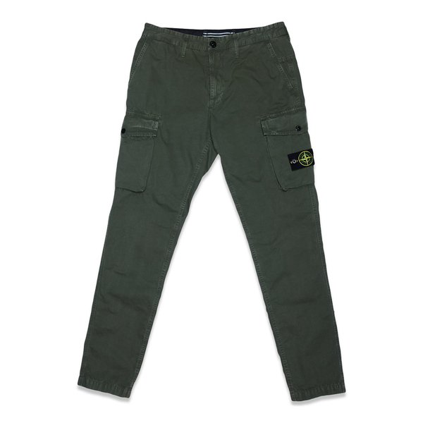 318Wa Brushed Cotton Canvas Garment Dyed 'Old Effect' Pants - Olive