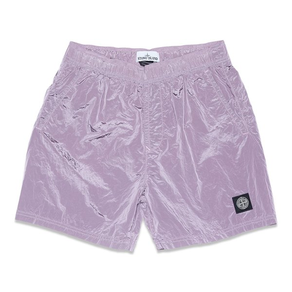 B0943 Nylon Metal Garment Dyed Swim Shorts - Rose Quartz