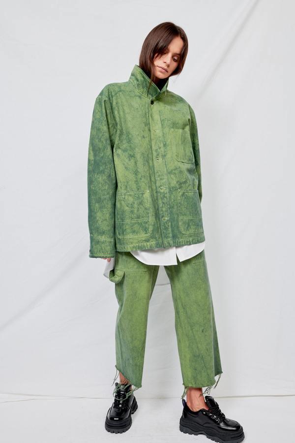 Assembly Overdyed Denim Field Coat - Green