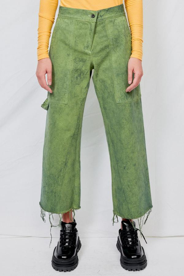 Green Overdyed Denim Simple Pant