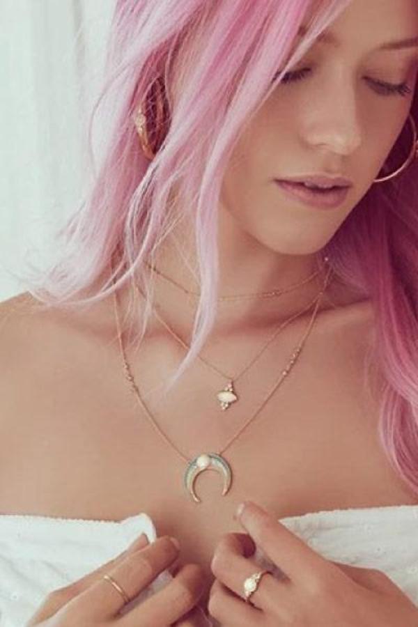 Elizabeth Stone Enamel Crescent Necklace - Opal