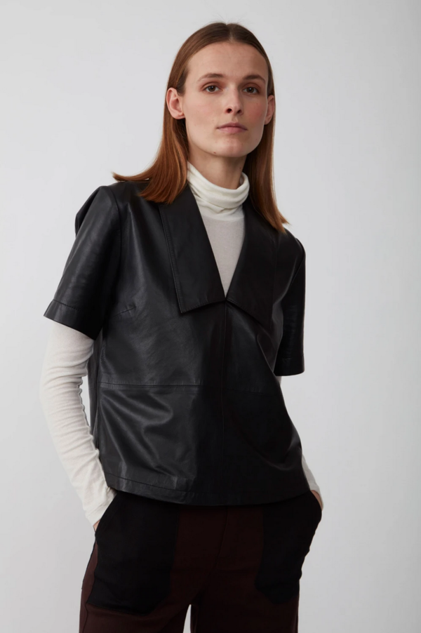 Just Female Laurene Leather Blouse
