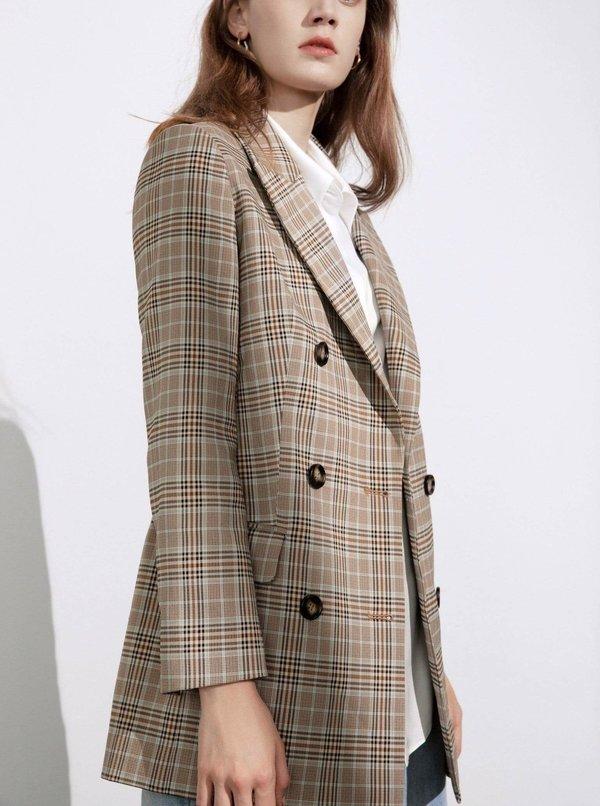 J.Ing Tan Plaid Double Breasted Oversized Blazer - Stripe