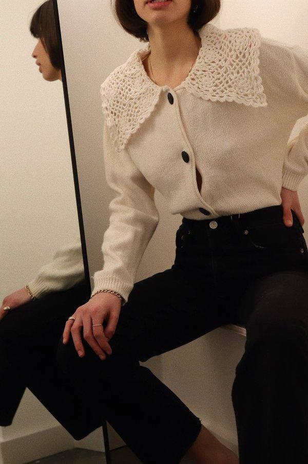Vintage Crochet Collar Cardigan - White