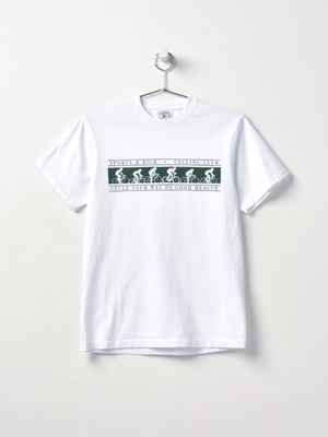Sporty & Rich Cycling Club T Shirt - White/Forest