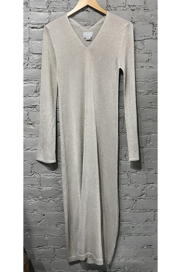 M.PATMOS Shimmer V-neck Dress - gold/cream