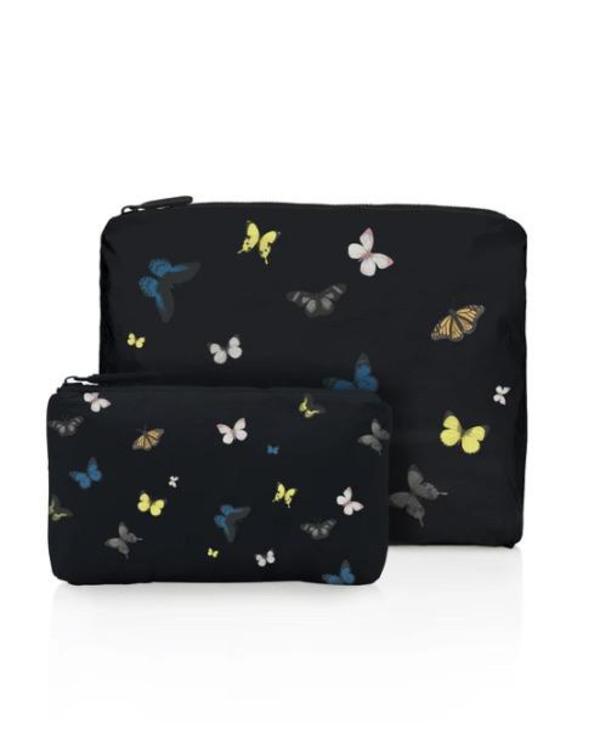 Hi Love  Two Piece Travel Set - butterflies black